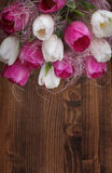 Tulip bouquet on wood Royalty Free Stock Photos