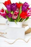 Tulip bouquet on wooden background. Tulip bouquet on  wooden background, copy space Stock Image
