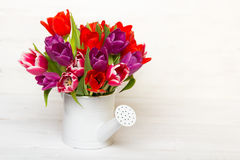 Tulip bouquet on wooden background,. Tulip bouquet on  wooden background, copy space Royalty Free Stock Image