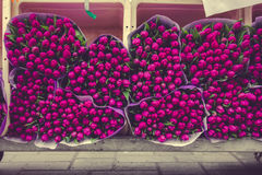 Tulip Bouquets on the Market Royalty Free Stock Images