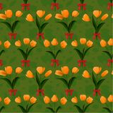 Tulip bunch  red bow seamless Royalty Free Stock Images