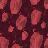 TULIP BURGUNDY SEAMLESS PATTERN. ABSTRACT BACKGROUND IN BROWN royalty free stock photography