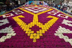 Tulip carpet with geometrical patterns at Sultanahmet square in stock photos