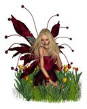 Tulip Fairy. Digital render of a cute blonde fairy surrounded by red and yellow tulips Royalty Free Stock Photography