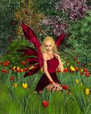 Tulip Fairy with Spring Background Royalty Free Stock Photos