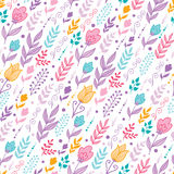 Tulip field flowers seamless pattern background. Vector colorful Dutch tulip field flowers elegant seamless pattern background with hand drawn Dutch floral Royalty Free Stock Image