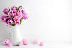 Tulip flower and easter eggs stock photography