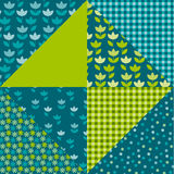 Tulip flower and geometry motif patchwork. Royalty Free Stock Photo