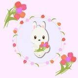 Tulip Flower med den gulliga kaninen Vektor Illustrationer