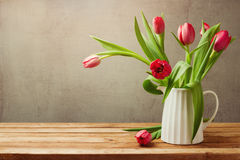 Tulip flowers for birthday celebration. Tulips in vase royalty free stock image