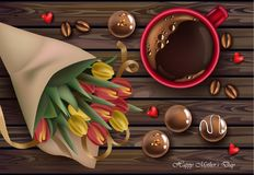 Tulip flowers bouquet and coffee cup Vector realistic illustrations. chocolates sweets decors. Tulip flowers bouquet and coffee cup Vector realistic Stock Image