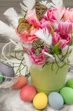 Tulip flowers with butterflies and easter eggs Stock Photography