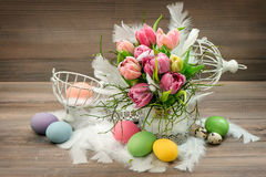 Tulip flowers Easter eggs Holidays decoration vintage Royalty Free Stock Photos