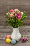 Tulip flowers Easter eggs Home decoration Stock Images