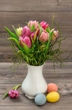 Tulip flowers Easter eggs Spring colorful decoration Royalty Free Stock Image