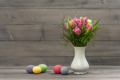 Tulip flowers with easter eggs. vintage style Royalty Free Stock Photo