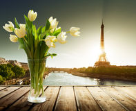 Tulip flowers and Eiffel tower Stock Photography