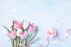 Tulip flowers and gift box for Women day, Mother day background. Flat lay stock photography