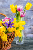Tulip Flowers in a Glass Vase Stock Images