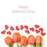 Tulip flowers and hearts for Valentine's day celebration Royalty Free Stock Photo