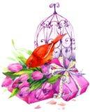 Tulip Flowers, oiseau jaune canari et cage à oiseaux décorative watercolor illustration stock