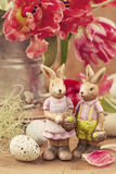 Tulip flowers and rabbits stock photo