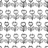 Tulip flowers seamless pattern. Floral artistic ink background. Vector spring illustration. Design element for seasonal fabric, textile, wrapping in doodle Royalty Free Illustration
