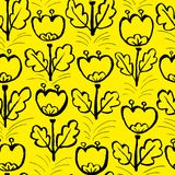 Tulip flowers seamless pattern. Floral artistic ink background. Vector spring illustration. Design element for seasonal fabric, textile, wrapping in doodle Stock Illustration
