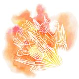 Tulip flowers on a watercolor background. Decorative floral illustration of tulip flowers on a watercolor background Stock Photo