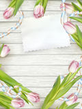Tulip flowers on wood background. EPS 10 Royalty Free Stock Images