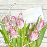 Tulip flowers on wood background. EPS 10 Royalty Free Stock Photo