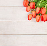 Tulip Flowers on Wooden Background Royalty Free Stock Images