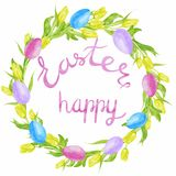 Tulip flowers wreath greeting card. Easter. Watercolor illustration with eggs Royalty Free Stock Photography