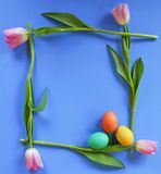 Tulip Frame with Easter Eggs Royalty Free Stock Photography