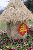 Tulip garden. A single house made of dry grass in tulip garden, a chinese character feng in it,means rich Stock Photo
