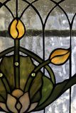 Tulip Glass. Stained glass panel of tulip in the Art Nouveau or Art Deco style Stock Photography