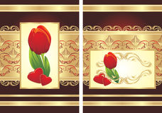 Tulip, hearts and gothic ornament. Two wrappings Royalty Free Stock Image