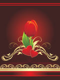 Tulip, hearts and gothic ornament. Wrapping Stock Photo