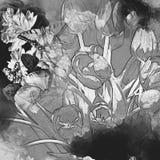 Tulip illustration with splash watercolor textured background. unusual illustration watercolor. stock illustration