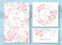 Tulip invitations set. Vector wedding invitations set with white and pink tulip flowers on white background. Romantic tender floral design for wedding invitation Stock Photography