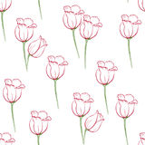 Tulip pattern_7. Floral seamless pattern with tulips on white background.  Spring flowers blossom hand drawn vector illustration. Vintage background with hand Royalty Free Stock Photos