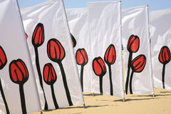 Tulip patterned wind breaks Stock Photography