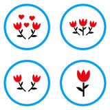 Tulip Rounded Vector Icons Royalty-vrije Stock Foto