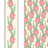 Tulip seamless pattern and border Stock Photos