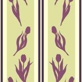Tulip spring flower silhouette stripe violet yellow green seamless pattern texture background wallpaper vector.  vector illustration