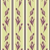 Tulip spring flower silhouette stripe violet yellow green seamless pattern texture background wallpaper vector.  stock illustration