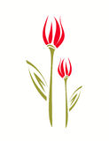 Tulip stylized  isolated symbol, children style. Royalty Free Stock Photography