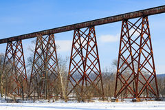 The Tulip Train Trestle. Greene County Indiana's Tulip Viaduct, seen here with winter snow, is a 2,295 foot (700 m) long railroad bridge and is the longest Royalty Free Stock Photography