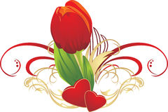 Tulip, two hearts and gothic ornament Royalty Free Stock Photos