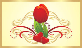Tulip, two hearts and gothic ornament. Card Stock Photos
